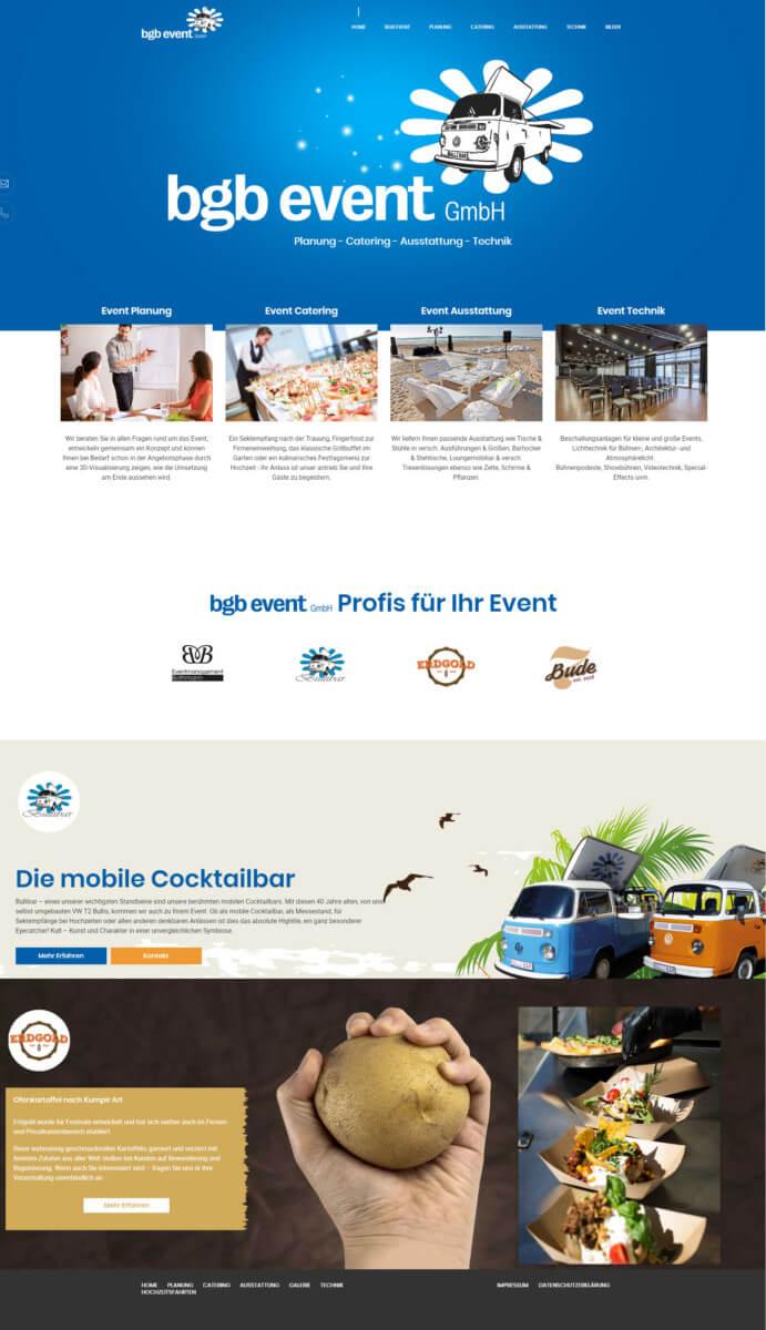 Webdesign Für Eventagentur Bgb Gruppe Aus Bad Oldesloe